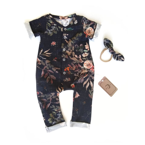 Dark floral sleeper - Organic Euro Cotton