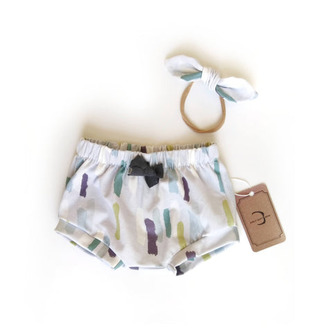 Brush strokes organic cotton shorts