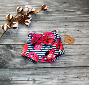 Striped floral cotton shorts