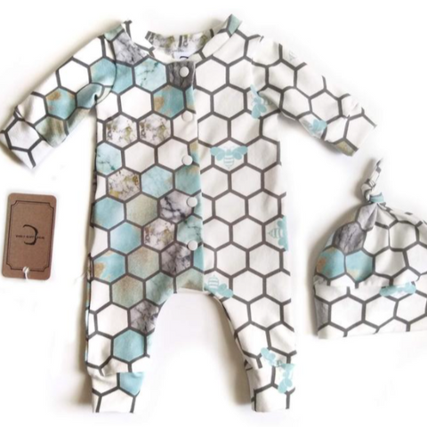 COMING BACK IN EARLY MARCH - Honeycomb organic cotton blue and gold sleeper - Early Gift Gear