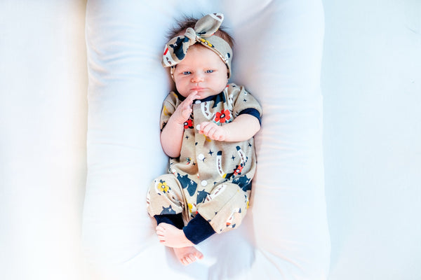 Oatmeal Floral Romper & Sage Turban Hat - French Terry Cotton