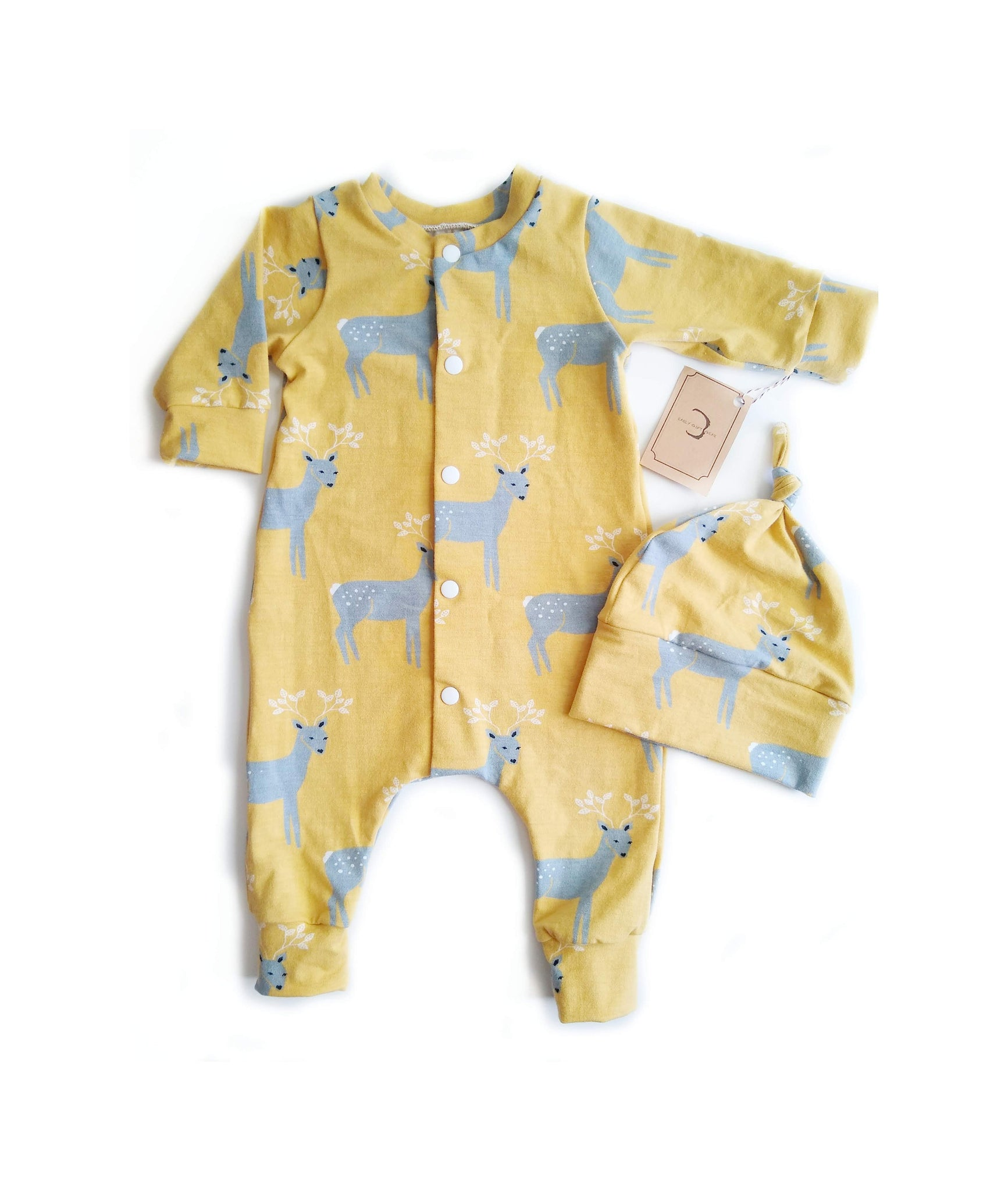 Yellow & Gray Deer Baby Sleeper Organic Cotton