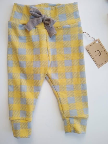 Plaid Yellow & Gray Deer Pants Organic Cotton