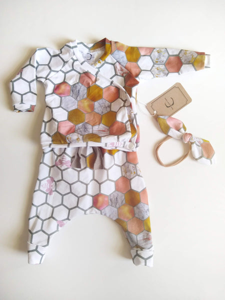 Honey Bee Outfit - Pink & Gold Honeycomb