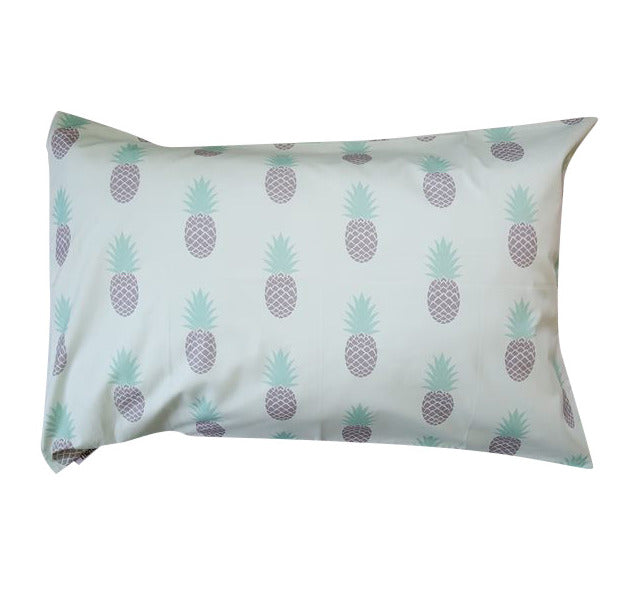 Spearmint and Grey  Pineapples Pillowcase