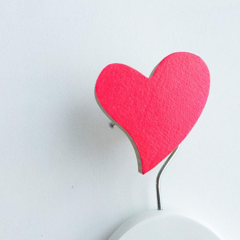 Hot Pink Heart Wall Hook