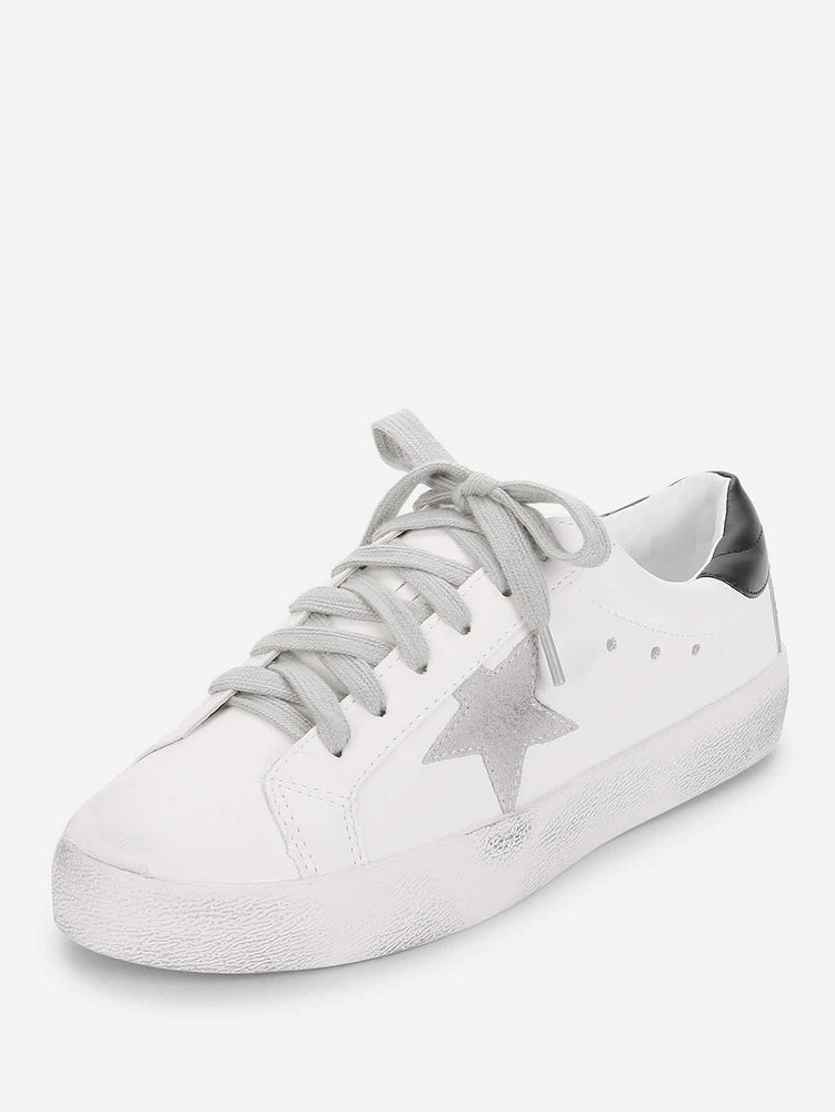 Star Patch Lace Up Splice Sneakers