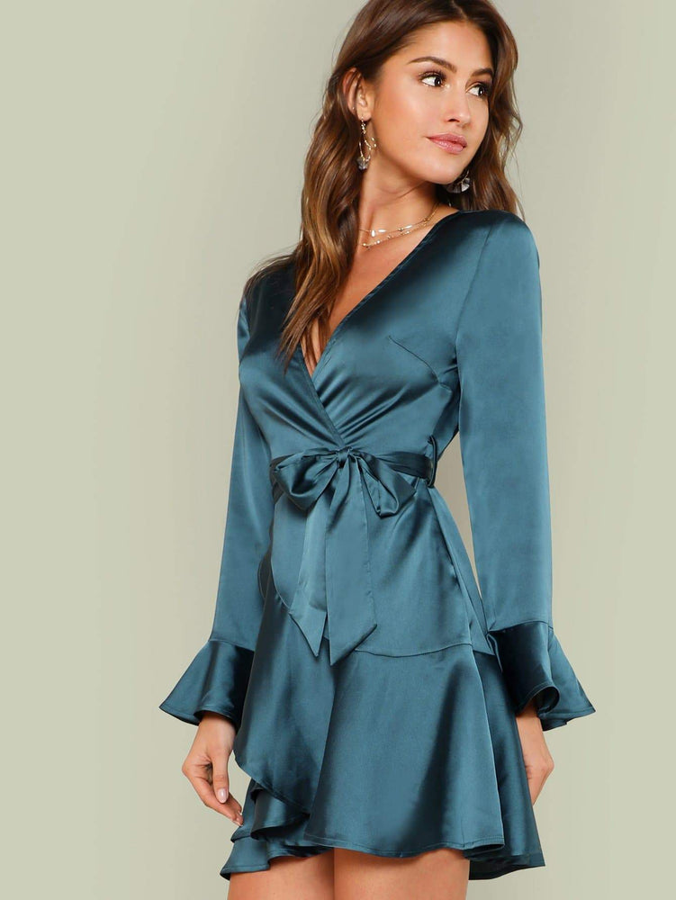 Split Back Tiered Ruffle Surplice Belted Dress