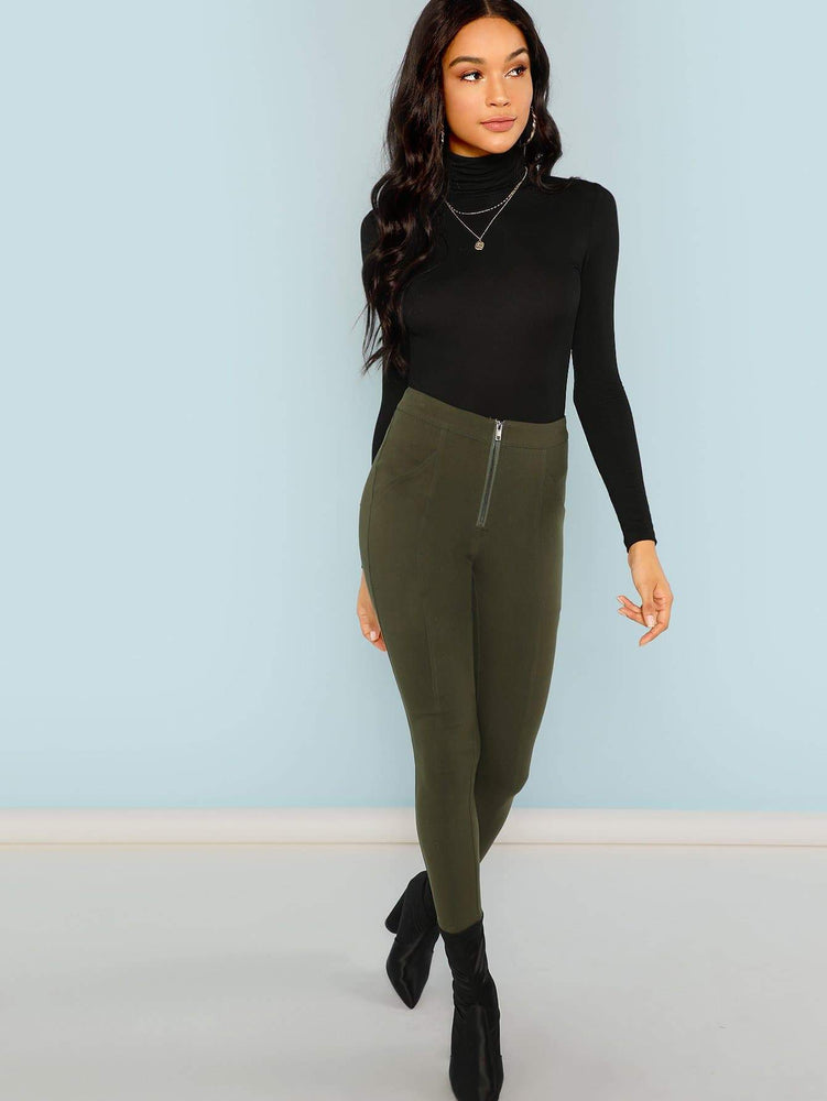 Turtle Neck Slim Fit Solid Top
