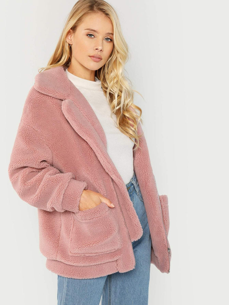 Drop Shoulder Oversized Teddy Jacket