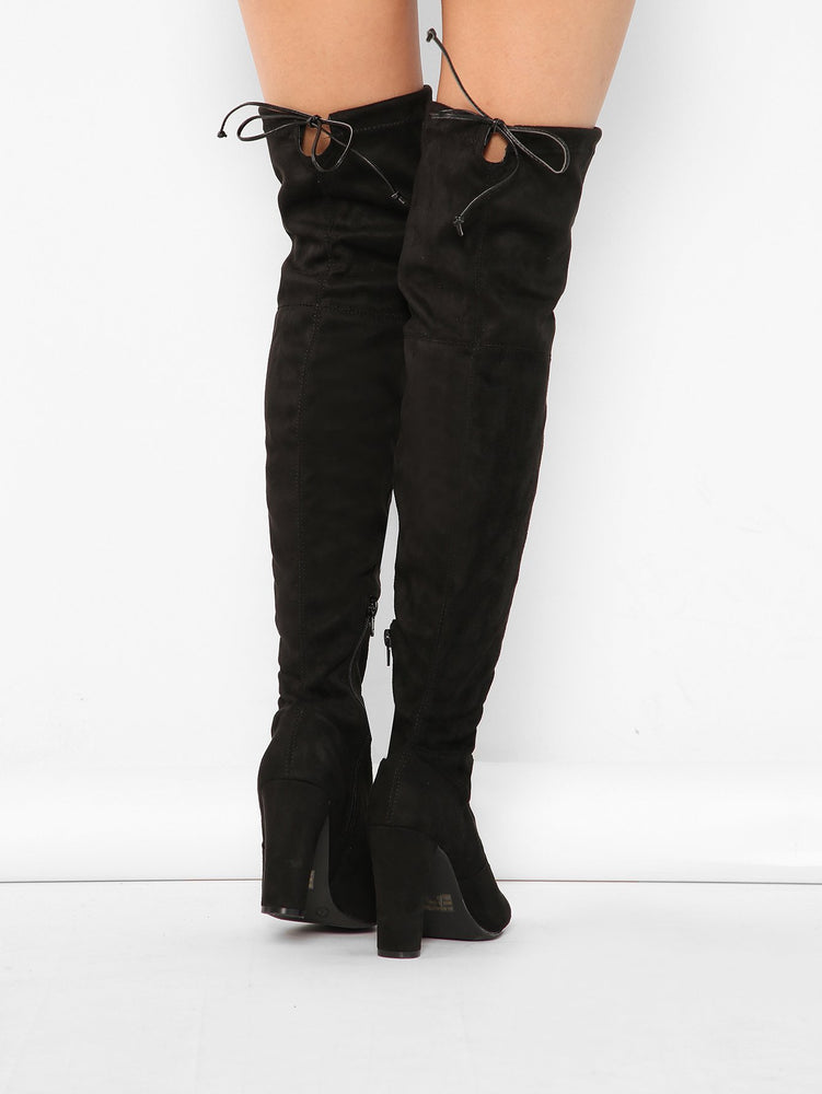 Almond Toe Chunky Heel Thigh High Boots