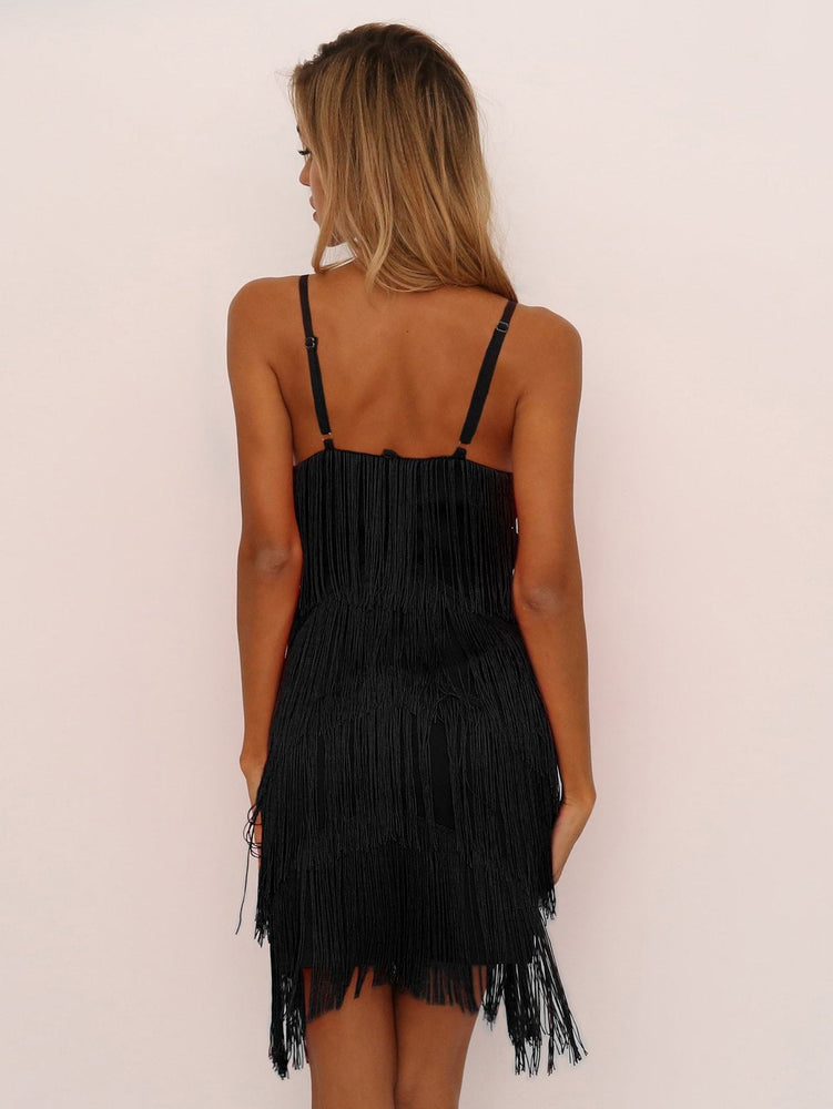Joyfunear Tiered Fringe Bodycon Cami Dress