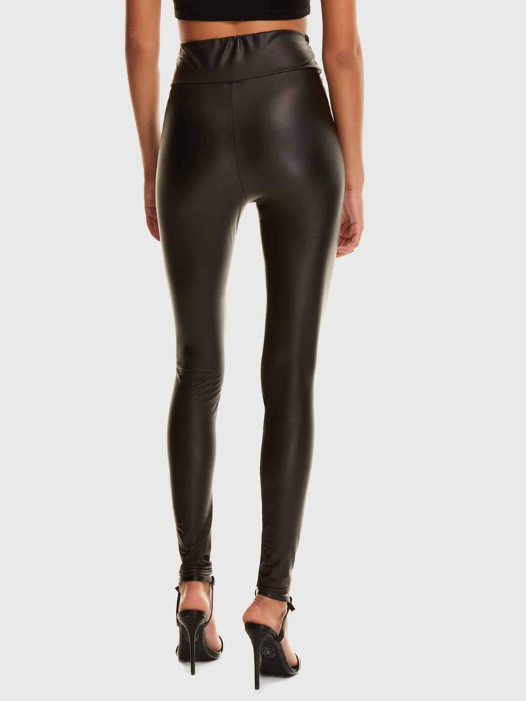 Wide Waistband Faux Leather Leggings