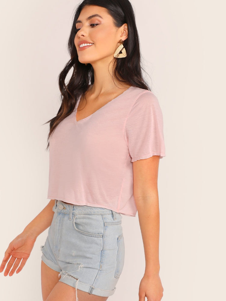 V-neck Solid Crop Tee