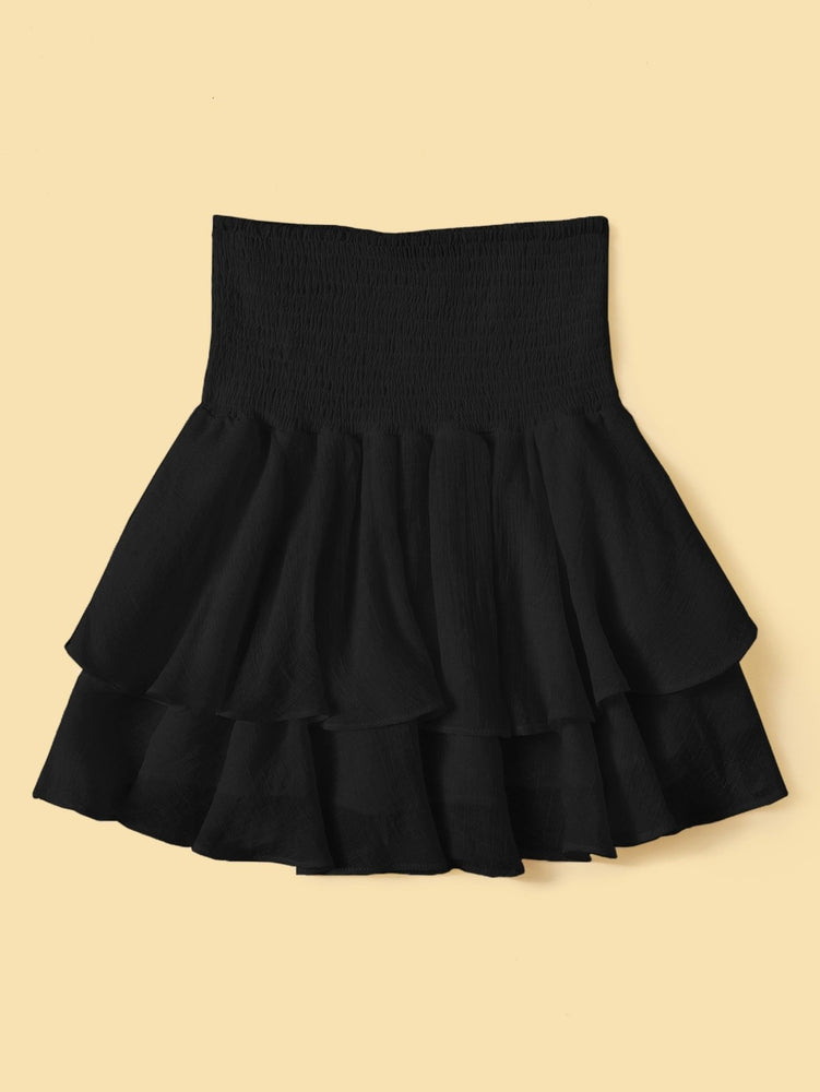 Solid Shirred Layered Ruffle Skirt