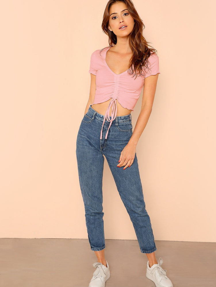 Solid Lettuce Trim Drawstring Detail Crop Top