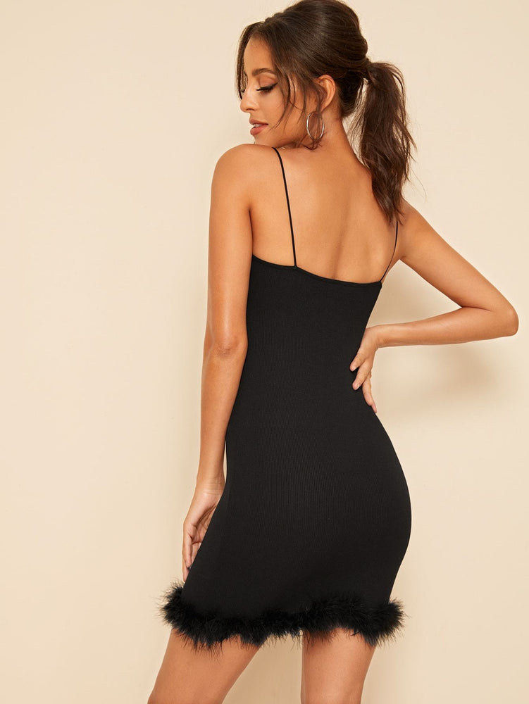 Faux Fur Hem Bodycon Slip Dress