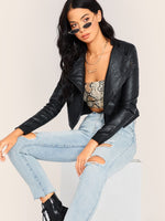 Stepped Hem PU Biker Jacket