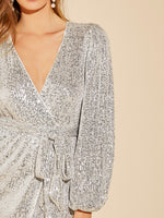 Lantern Sleeve Wrap Belted Sequin Dress