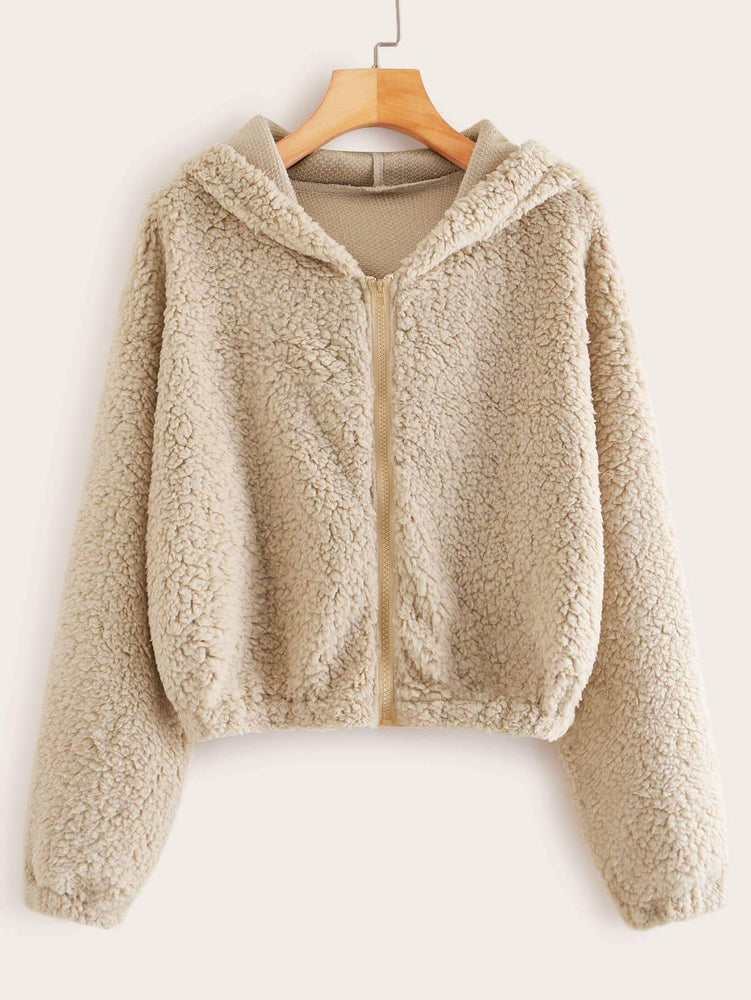 Solid Zip-up Hooded Teddy Jacket