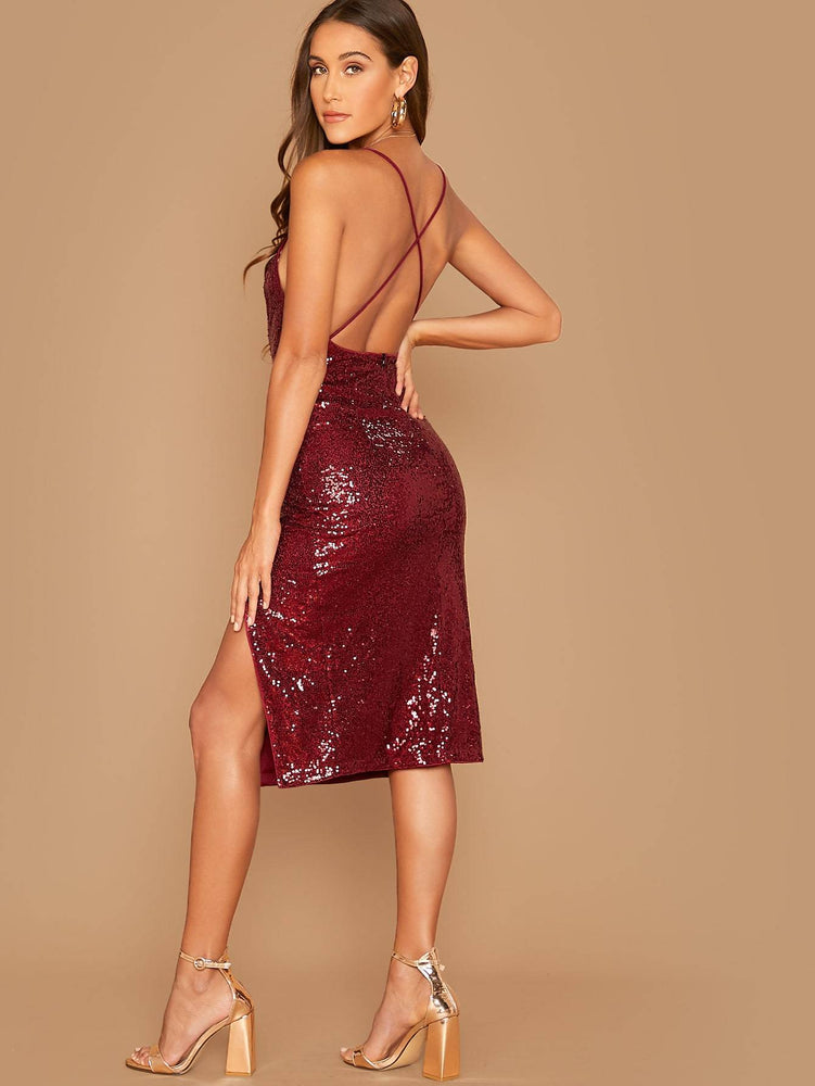 Split Thigh Sequin Slip Dress