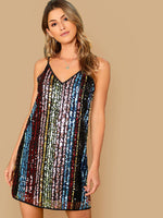 Double V-neck Sequin Slip Dress