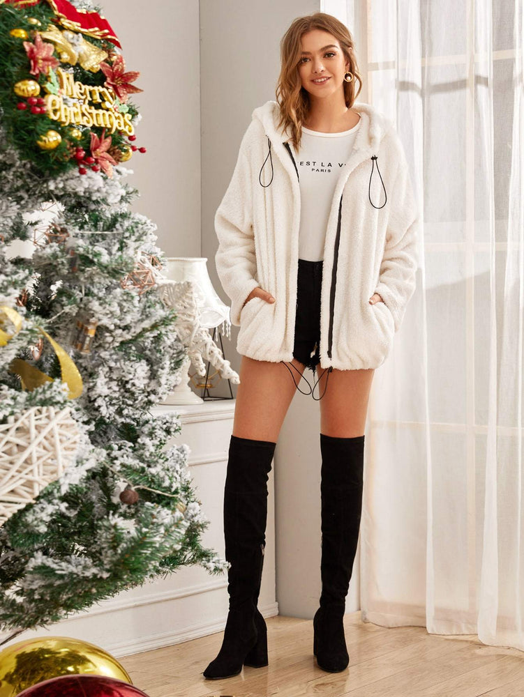Solid Zip Up Drawstring Hooded Teddy Coat