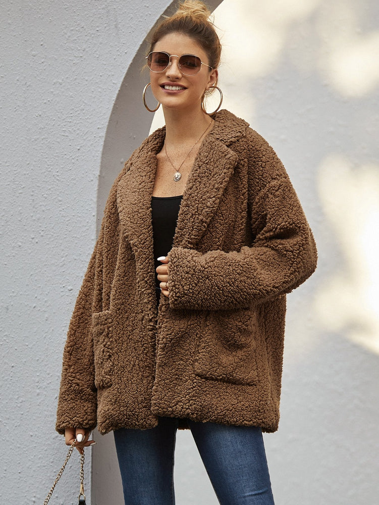 Drop Shoulder Pocket Pacthed Teddy Coat