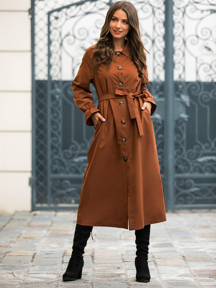 Solid Button Through Belted Longline Trench Coat
