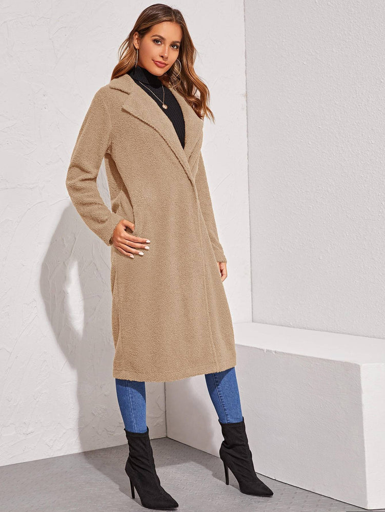Notched Collar Single Buttoned Teddy Coat