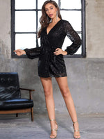 DKRX Lantern Sleeve Wrap Belted Sequin Dress
