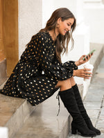 Gilding Polka Dot Contrast Lace Dress