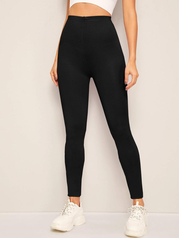Solid Elastic High Waist Leggings