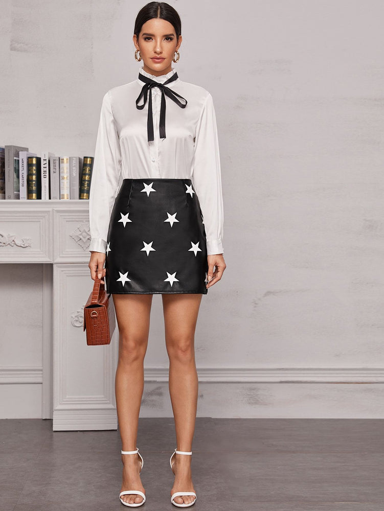 Star Print PU Leather Mini Skirt