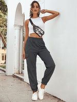 Pocket Side Elastic Waist Sweatpants