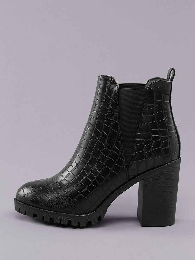 Side Goring Lug Sole Block Heel Croc Booties