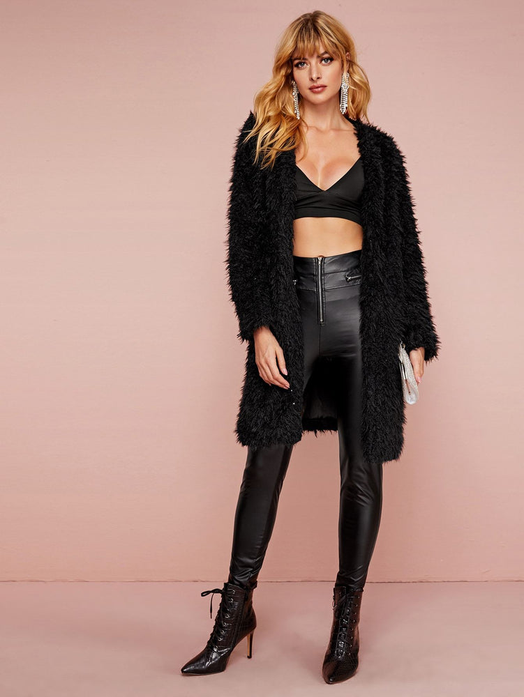 Open Front Longline Faux Fur Coat