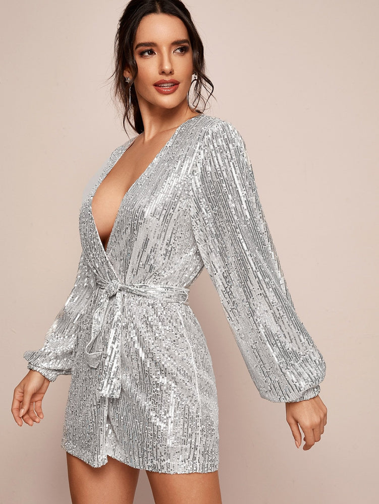 Plunge Neck Sequins Belted Wrap Dress