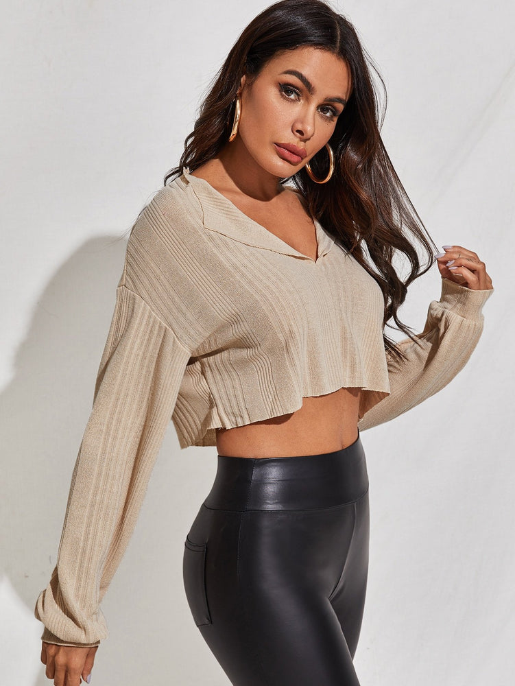 Drop Shoulder Notched Neck Rib-knit Top