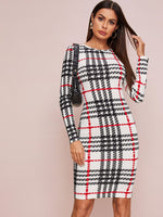 Plaid Print Fitted Dress