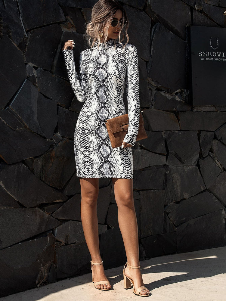 Snakeskin Print Mock Neck Bodycon Dress