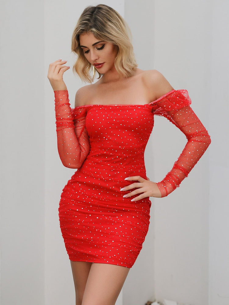 Double Crazy Off Shoulder Rhinestone Detail Mesh Bodycon Dress