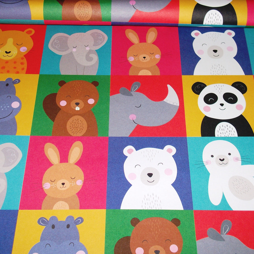 Animal Squares Wrapping Paper