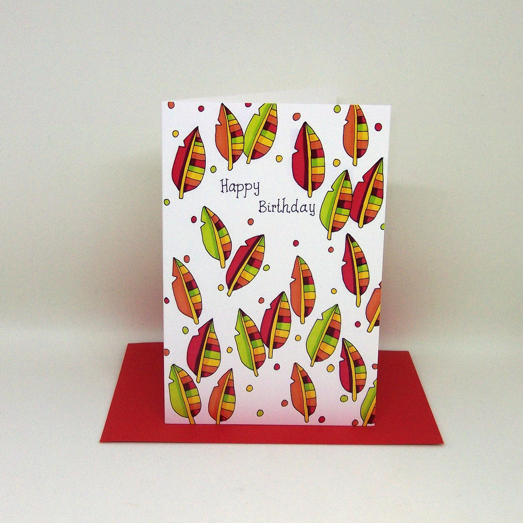 Happy Birthday Leaves Card