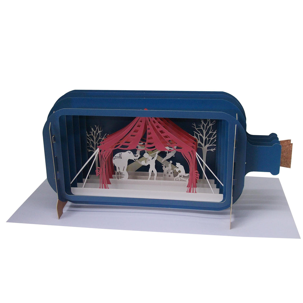 Circus Big Top Message In A Bottle Greetings Card