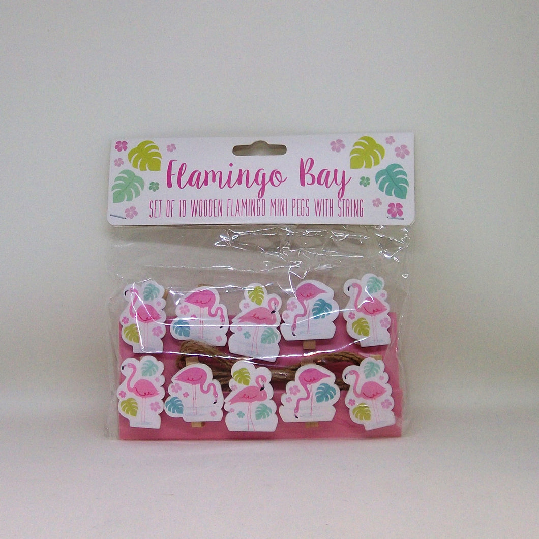 Wooden Flamingo Mini Pegs with String