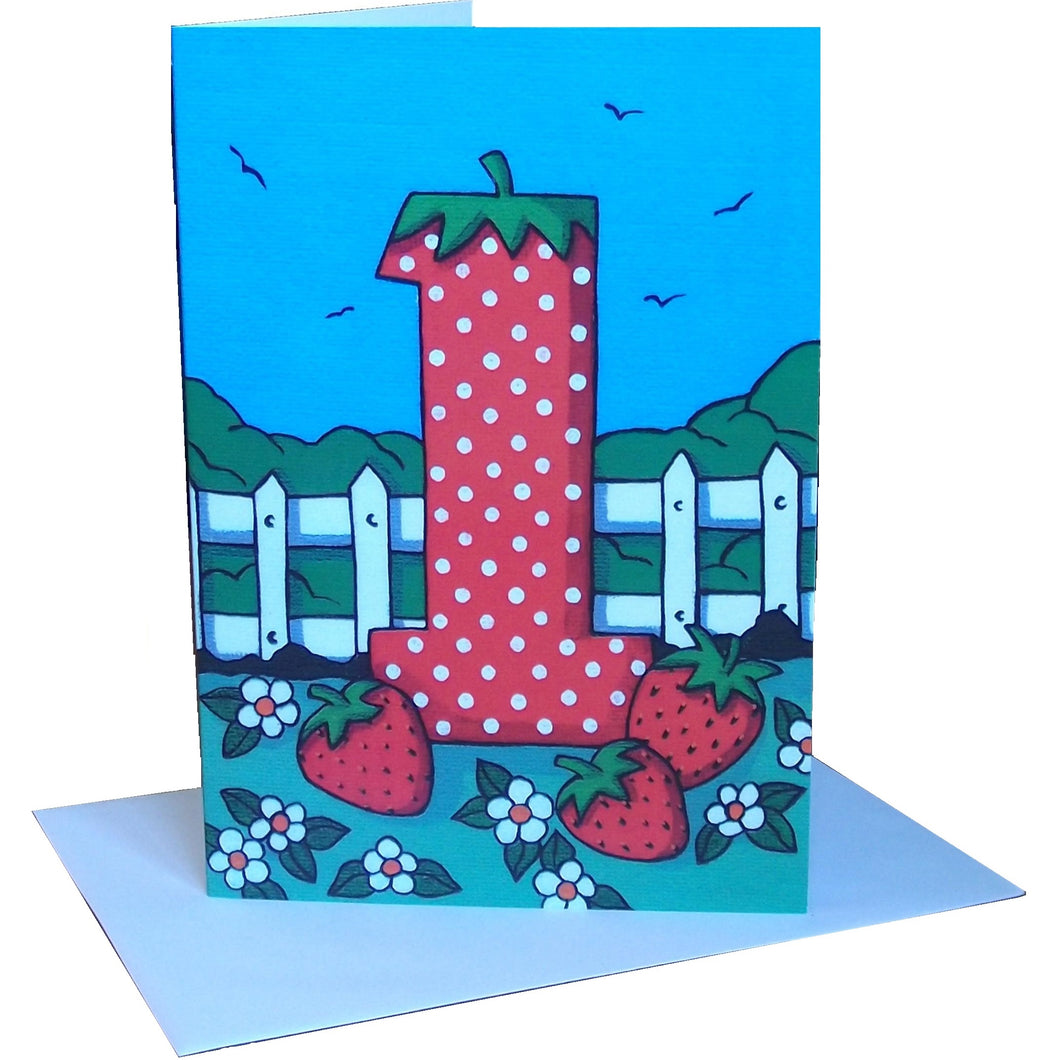 First Birthday Strawberry Greetings Card