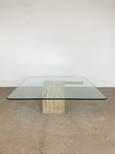 GLASS & MARBLE & GOLD COFFEETABLE