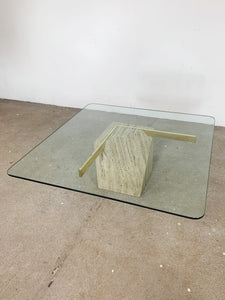 GLASS & MARBLE & GOLD COFFEE TABLE
