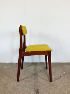 TEAK & YELLOW CHAIRS (SET OF 4)